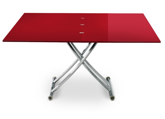 Table basse relevable Carrel XL rouge laqué