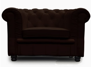 Fauteuil Chesterfield 1 place marron