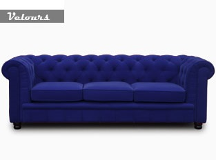 Chesterfield bleu velours 3 places