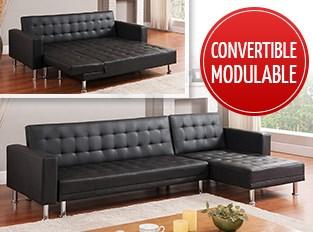 Canapé d'angle convertible Noir LOS