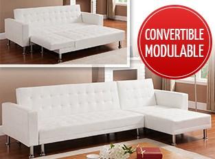 Canapé d'angle convertible Blanc LOS