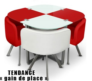 Table damier 4 chaises Rouge Blanc