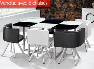 Table damier XL 6 chaises bicolore