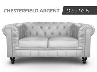 Canapé Chesterfield 2 Places Argent