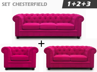 Set Chesterfield Rose en velours
