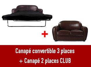 Set deux canapés Club 2 places et 3 places convertible marron