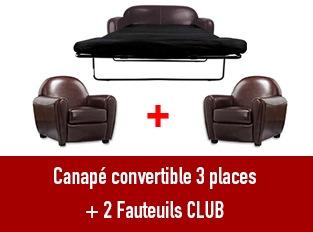 Set 3 canapés Club 3 places convertible et 2 fauteuils marron