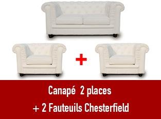 Set 3 Chesterfield un  canapé 2 places et 2 fauteuils blanc