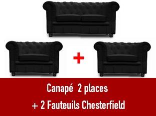 Set 3 Chesterfield un  canapé 2 places et 2 fauteuils noir