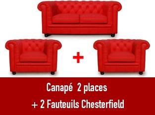 Set 3 Chesterfield un  canapé 2 places et 2 fauteuils rouge