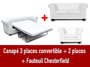 Set 3 canapés Chesterfield 3 places convertible 2 et 1 places blanc