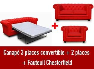 Set 3 canapés Chesterfield 3 places convertible 2 et un fauteuil rouge