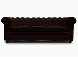 Chesterfield 3 places marron