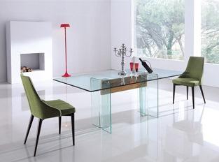 Table à manger en verre et bois design Glasswood