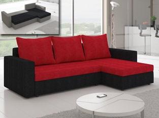 Canapé d'angle convertible design LIVIA Noir Rouge