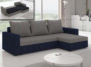 Canapé d'angle convertible design LIVIA Bleu Gris