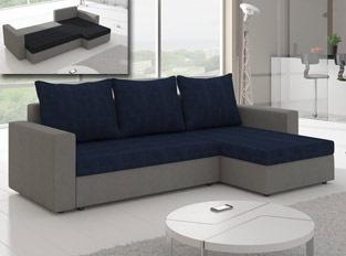 Canapé d'angle convertible design LIVIA Gris Bleu