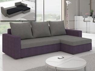 Canapé d'angle convertible design LIVIA Violet Gris