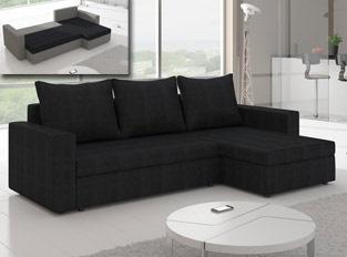 Canapé d'angle convertible design LIVIA Noir
