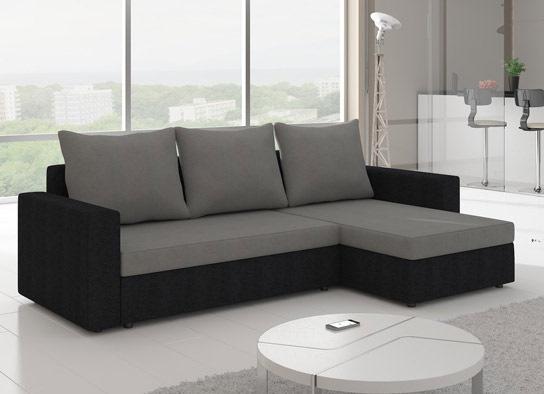 Canapé d'angle convertible design LIVIA Noir Gris