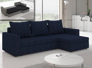Canapé d'angle convertible design LIVIA Bleu marine