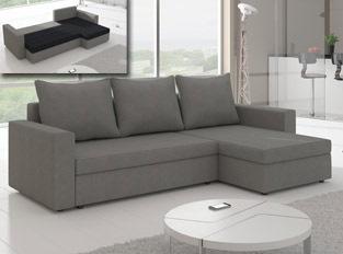 Canapé d'angle convertible design LIVIA Gris