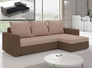 Canapé d'angle convertible design LIVIA Marron Beige