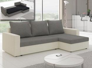 Canapé d'angle convertible design LIVIA Blanc Gris