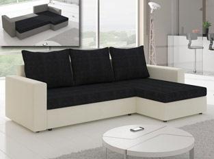 Canapé d'angle convertible design LIVIA Blanc Noir