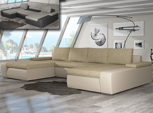 Canapé d'angle universel convertible design MARINA Beige
