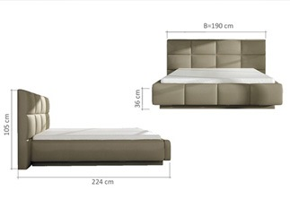 Lit design ALEX beige 140 cm