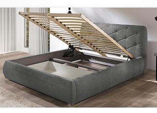 Lit design FLEUR gris 140 cm