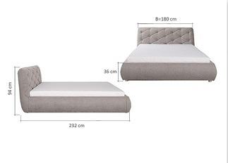 Lit design FLEUR beige 140 cm