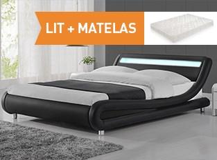 Lit led design Julio Noir 140cm avec matelas Yella 140x190 cm