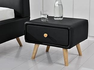 Meubles design petit prix en stock - Table de chevet simili cuir noir ...
