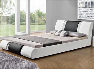 Lit design ATLANTIC blanc et noir 140 cm