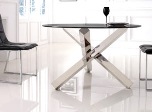 Table à manger ronde en verre design ELIA