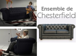 Set 3 Chesterfield noir