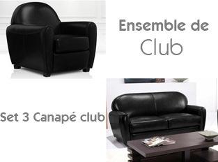 Set 3 Canapé club noir