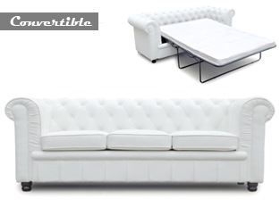 Chesterfield convertible 3 places blanc