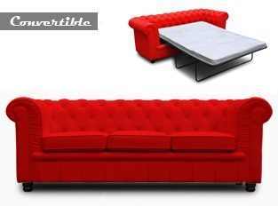 Chesterfield convertible 3 places rouge