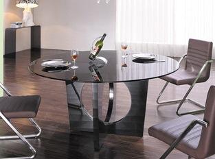 Table à manger ronde en verre Madisson