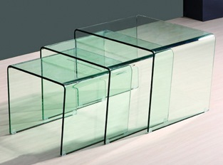 Table basse gigogne Cube transparent - 3 tables en verre