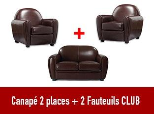 Set Canapé Club 2 places et 2 Fauteuils marron