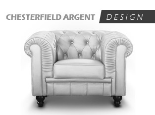 Fauteuil Chesterfield 1 Place argent