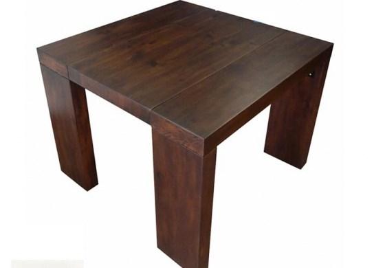 Table console bois wengé rustique ( marron foncé) - 3 rallonges