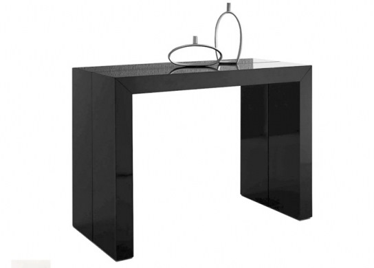 Table console Naspace laquée noire - 3 rallonges