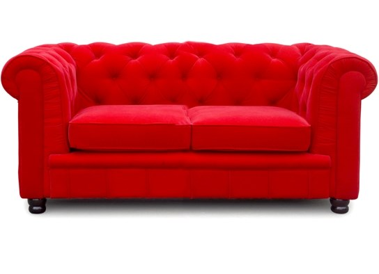 Chesterfield 2 places rouge velours - Canape chesterfield velour ...
