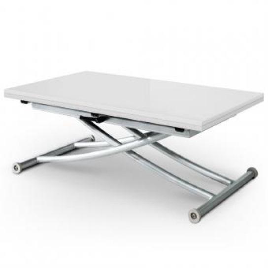 Table basse relevable blanc laqué