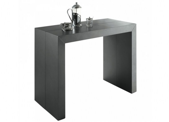 Table console Naspace XL gris satine - 4 rallonges